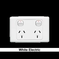 GPO STANDARD 2G HORIZONATAL 10A 250V WHITE ELECTRIC